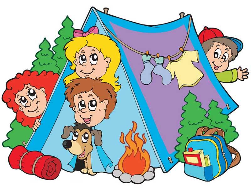 Camping in the cartoon with lithium battery